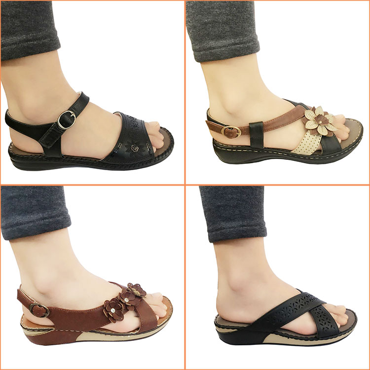 Stock clearance sale Women Handmade Wedge Flat Sandals Slipper PU Sole Soft Maternity vietnam Stocklot shoes