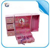wall paper wrapped music box with dancing figurines package box