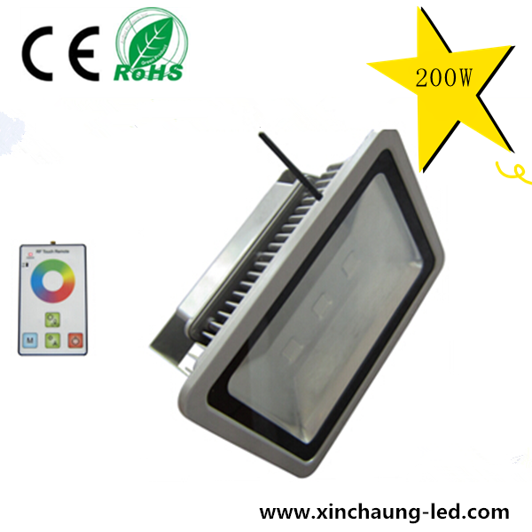 High quality cob flood landscape light 200W RF Remote Control RGB christmas color changing outdoor led flood light