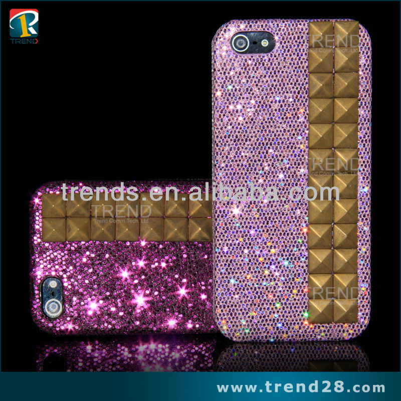 wholesale cheap glitter sticker rivet cover case for iphone 5 5s