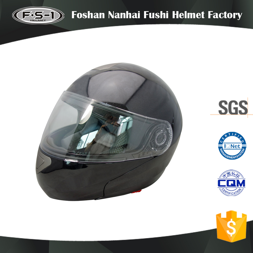2017 Latest design German style DOT approved ABS black double visor motorcycle helmet