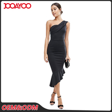 Ladies Sexy One Shoulder Formal Women Designer One Piece Party Dress
