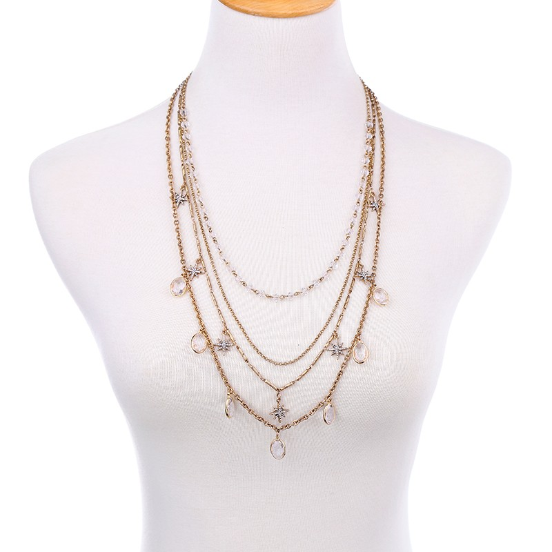New Gold Chain Design Jewelry Multi Shape Crystal Style Lariat Necklace
