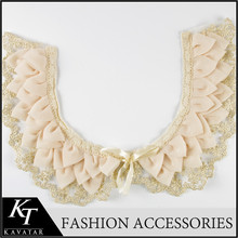 Flower Petal Design chiffon cotton Handcraft Embroidery With Golden Mesh Drape design Low Collar Apparel Accessory