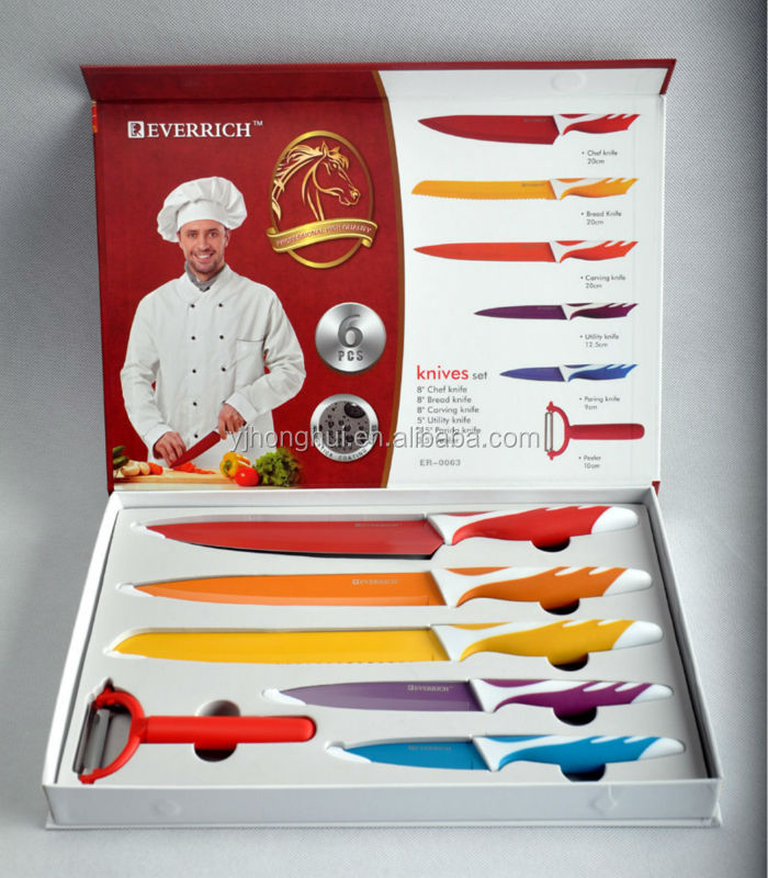 5pcs Colorful Stainless steel Kitchen knife set with PP&TPR handle