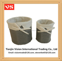 Grey round home use paper craft woven waste baskets desktop file waste baskets with liners