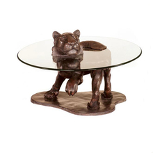 Coffee House Decoration Metal Craft Bronze Tiger Table Base Sculpture