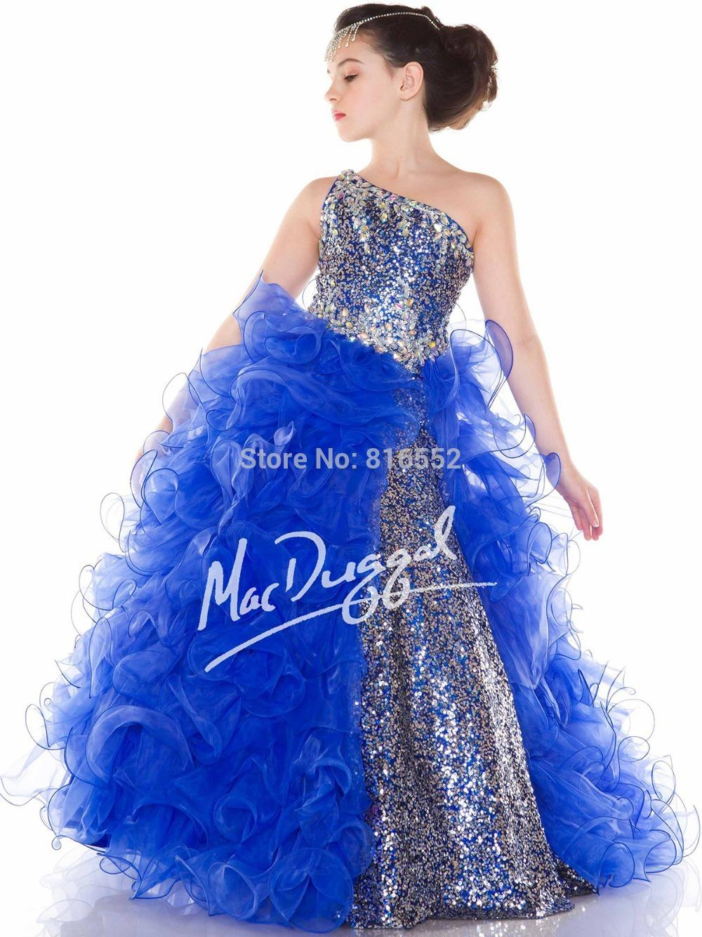 Buy 2015 New Hot Blue Flower Girl Dresses Ball Gowns Sequined ...