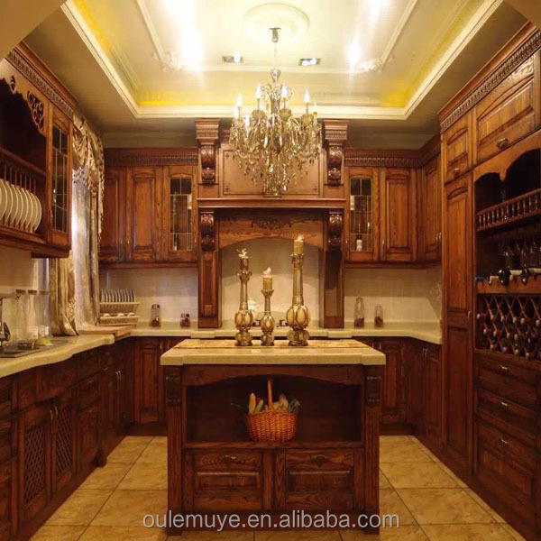 Modern Cherry Finished Wooden Kitchen Cabinet For Sale High Quality Display Kitchen Cabinets Affordable Modern Kitchen