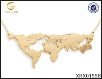 18k Gold Plated Jewelry Sterling Silver 925 World Map Necklace