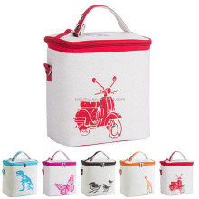 Promotional Customized Logo 100% Cotton Fabric Cooler Lunch Bag