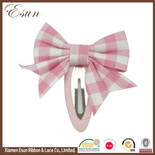 Big children baby kids pink fabric plaid bows hair snap on clip