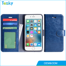 2018 OEM PU Leather Flip mobile phone Wallet Case For iPhone 6 With 3 Card Slots 1 Money Pocket Magnetic Enclosure
