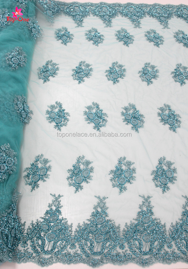 Water Green Heavy Beaded Lace Fabric/embroidery Lace Fabric/wedding ...