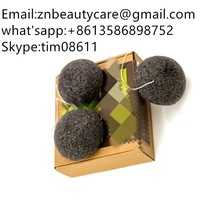 Konjac Sponge 3 Packs - Face Cleansing Sponge Scrub with Activated Bamboo Charcoal for Facial and Body Wash - Suitable for Men a