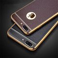 Litchi Grain Luxury Plating Phone Cases For iPhone 6 Case 5 5s TPU Silicone Cover For iPhone 7 Case 6s Plus Cases Coque Capa