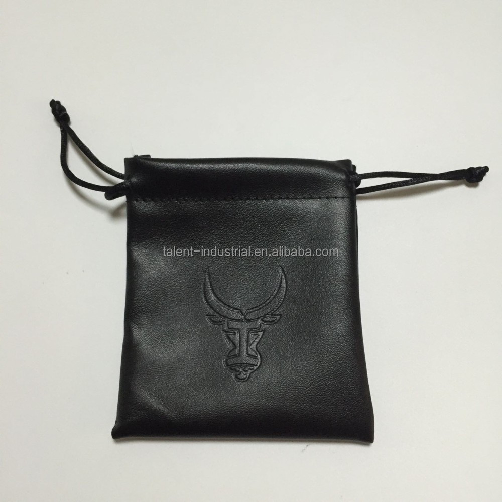 Luxury Packaging bags small leather jewelry coins Drawstring pouch