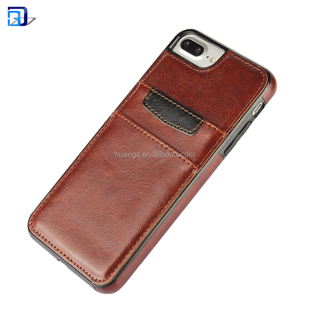 Universal Smart Phone Card Slot Style Flip Cover Leather Phone Case For Iphone 7