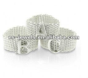 stainless steel Mesh Alphabet Letter fashion Ring