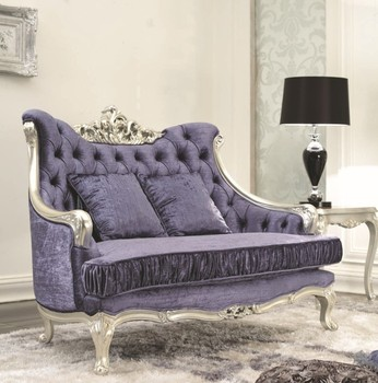 Luxury European design living room wooden hand carving purple sofa set