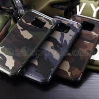 2 in 1 Genuine Leather Coated TPU Back Case for Galaxy for Note 5 Case N9200-C Camouflage
