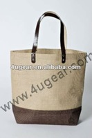 Fashion burlap tote bag with leather handles