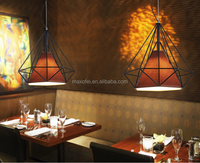 Modern design indoor diamond shape fabric+iron pendant light cord for home hotel decoration