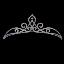 cubic zircon fleur de lis swirl crowns factory wholesale wedding pageant crown tiara