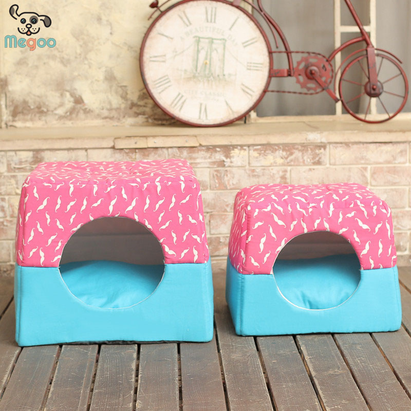 New Style Double Purposed Pet Cat Bed House Detachable Canvas Hooded Dog House