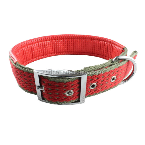 Red color metal buckle thick dog collars