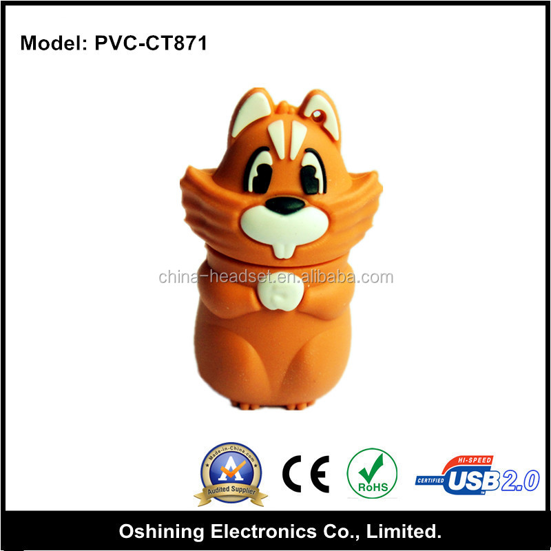 Christmas usb disk, orange squirrel 4gb usb flash drive (PVC-CT871)