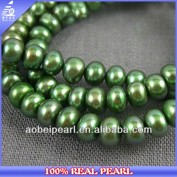 2014 Latest Design 6-7MM Button Olive Green Freshwater Natural Pearls
