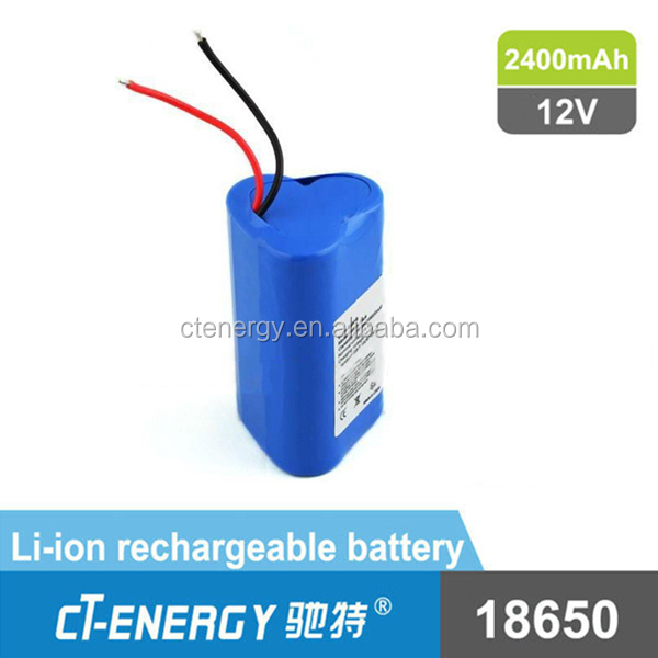18650 Rechargeable 12V Lithium ion Battery 2400mAh