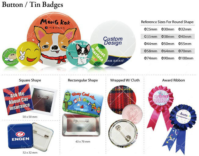 Promotion Affordable Prizes Custom Printed Button Badge Award Ribbon