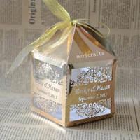 personalised laser candy box gold wedding favor box gold