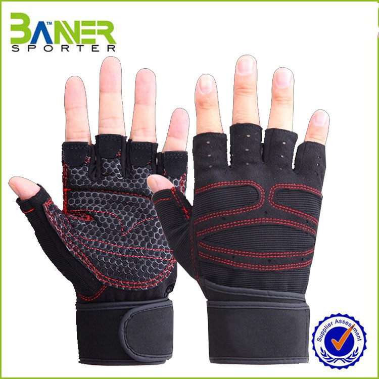 2016 custom half finger weight lifting glove