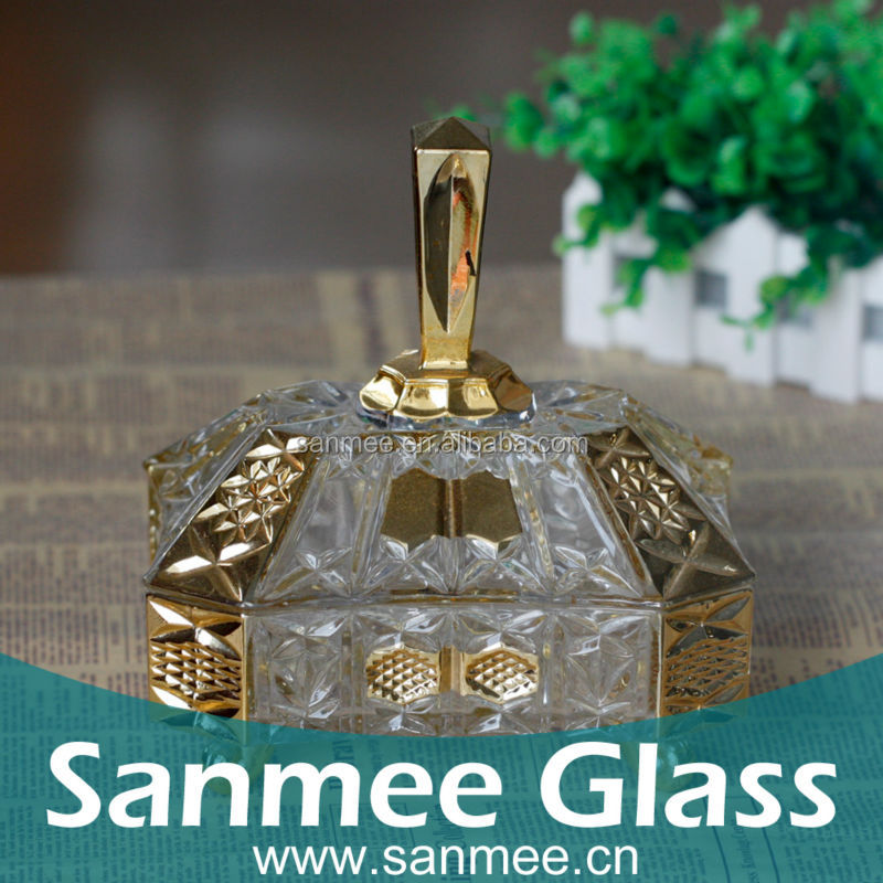 Decorative Square Shape Overgild Glass Candy Box With Foot