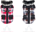 High quality thicken warm dogs coat with horn button,dogs winter lattice out-wear with fur