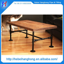 "Table with 1/2"" 3/4"" metal pipe fittings base made of industrial pipe"
