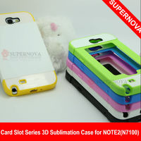 DIY Card Slot Series 3D sublimation phone case for Samsung Galaxy Note2(N7100)