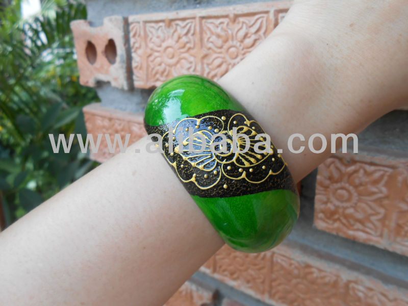 Wood Bangle Bracelet Hand Painted Eco-friendly Green Natural Jewelry Thailand Handmade