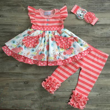 Custom Design Summer Pearl Dress Ruffle Baby Clothes Wholesale Childrens Boutique Clothing Sets