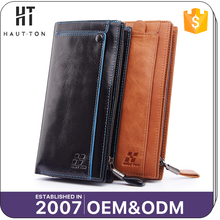 HAUTTON Guangzhou Supplier Man Vintage Card Wallets High Quality Popular Leisure Genuine Top Layer Leather Wallet For Men