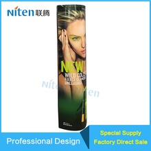 Cardboard Pillar Design Circular Cut Out Makeup Mac Cosmetic Image Show Display Stand