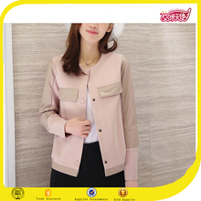 Hot pink ladies leather jacket varsity jacket fashion new design jackets women 2016