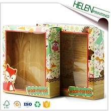 Custom toy cardboard paper wood grain cardboard box with window