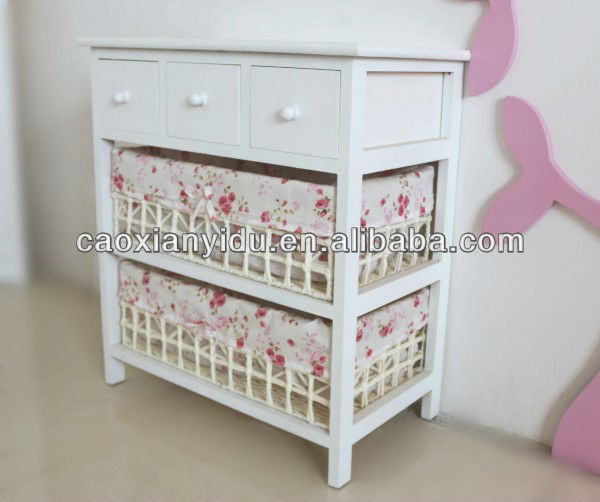 wooden home furniture / wood storage cabinets with woven baskets for sale