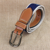 Embroidery polyester webbing belt with pin buckle