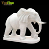 Decorative White Carved Marble Elephant Sculpture For Sale