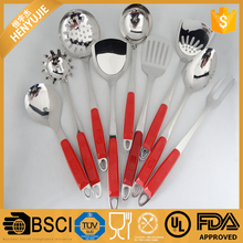9pcs set stainless steel kitchen utensils with red plastic handle